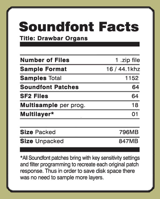 Details about HAMMOND ORGAN SOUNDFONT COLLECTION 64  sf2 FILES 1152 SAMPLES  - BEST VALUE EVER